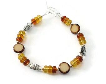 Owl Bracelet, Beaded Owl Bracelet, Brown Bracelet, Owl Jewelry, Nature Jewelry, Gift for Her