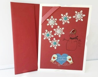 Warm Wishes Snowman Holiday Card, Snowflake Card, Handmade Holiday Greeting Card