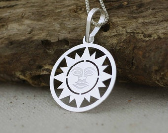 Silver Sun Necklace, Sterling Silver Sun Necklace, Sun Pendant,  Celestial Jewelry,  Silver Sunshine Necklace, SolarCharm, Boho Jewelry