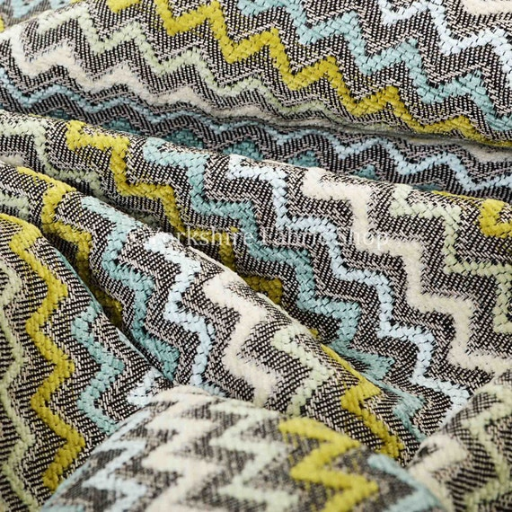 10 Metres Of Soft Jacquard Woven Fabric Multicolour Grey Green ...