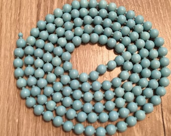 1960s Pop Bead necklace in turquoise / necklace bracelet set / double strand necklace