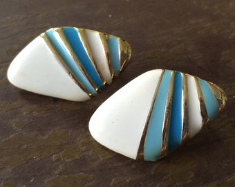 Blue, white and gold stripe post earings / costume jewelry