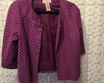 CLEARANCE SALE Purple patterned swing jacket with cropped sleeves