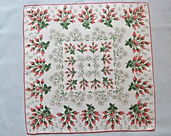 Linen Handkerchief, Pretty Floral Rose Bud Clusters and White Daisies, Vintage Charm