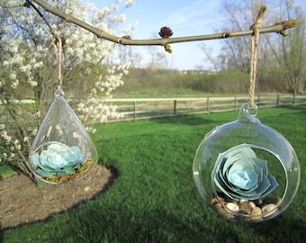 Hanging Succulent Terrarium, Paper Flowers, Hanging Terrarium, Glass Planter, Air Plant Alternative