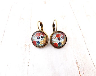 Antique Skull Day of the Dead Earrings / Skulls and flowers jewelry