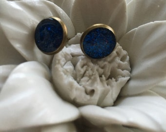 Something blue. Check. Done. Beautiful blue glitter earrings set in 12mm bronze posts.