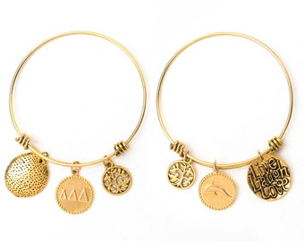 Delta Delta Delta Expandable Wire Bangle Bracelet - Yellow Gold Plated