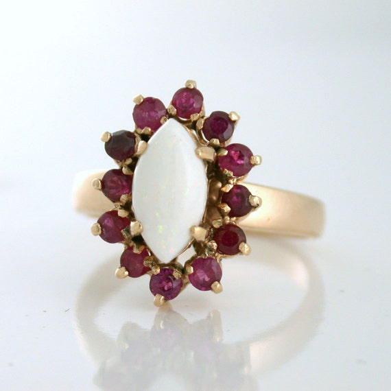 Natural Opal and Ruby Marquise shaped Estate Ring 18k gold