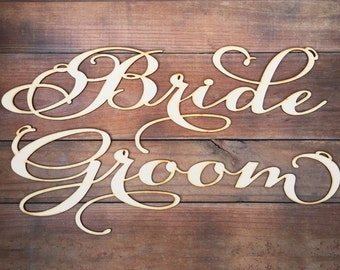 Wedding Chair Signs Decoration - Bride & Groom Chair sign
