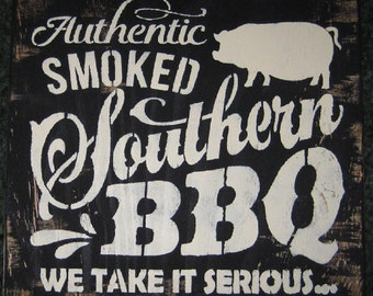 authentic smoked Southern BBQ...pig....wall hanging/rustic/primitive/home decor/handmade