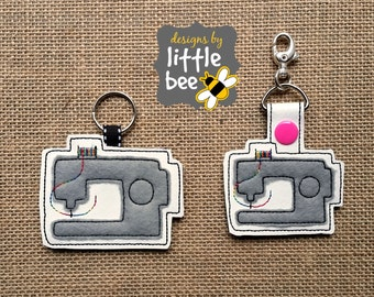 sewing machine key fob AND snap tab keychain embroidery applique design sew pes exp +more Instant Download bean stitch