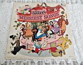 Vintage Disney Vinyl Album: Walt Disney's Merriest Songs, 1968, Nursery, Child's Room, Collector