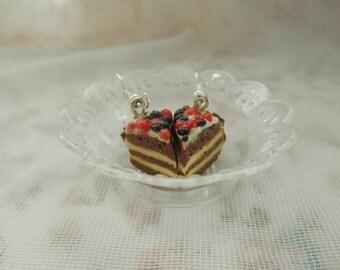 Black forest cake slice earrings. chocolate cake slice earrings.
