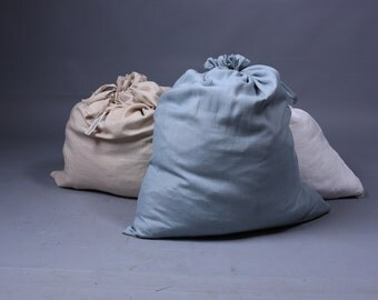 Linen bag / Large laundry bag / Natural flax bag / Hanging laudry bag