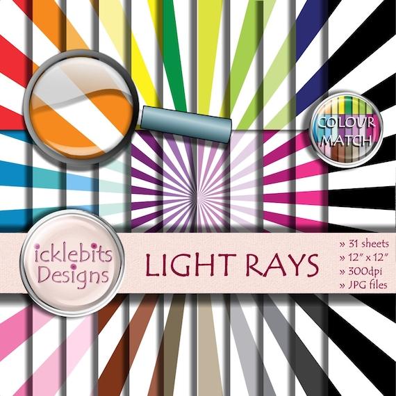 "Striped Digital Paper Pack ~ ""LIGHT RAYS"" ~ 31 Sheets ~  Light Rays digital paper ~  CU Scrapbooking Paper ~ Rainbow Paper ~ Design #105"