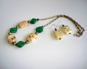 Stunning Statement Beige/ Green Magnesite Set,Necklace,Earrings,Healing / Natural Stones, Gift for Her under 50,