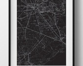 Houston, TX Map Poster 11x17 Digital File