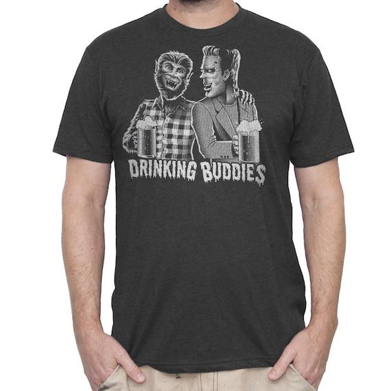 Frankenstein Shirt - Wolfman Shirt - Mens Craft Beer Shirt - Mens Beer Shirt - Frankenstein and Wolfman Screen Printed on Mens Shirt