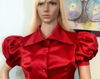 New Satin Lolita Blouse/ Puff Sleeve Victorian Blouse/ Renaissance Blouse Size S M L XL XXL 3XL/ Steampunk Blouse/ Goth Top/ Vintage Clothes