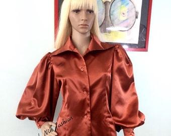 Vintage satin blouse/ Business S M L XL XXL 3XL women shirt in Rust/ Steampunk Blouse/ Lolita Blouse/ Medieval Shirt/ Renaissance Blouse