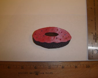 Beaded Leather Chocolate  Doughnut Brooch with Pink Frosting & Sprinkles