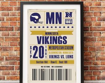 Minnesota Vikings Retro Ticket Print