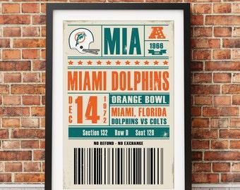 Miami Dolphins Retro Ticket Print