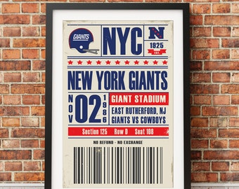 New York Giants Retro Ticket Print