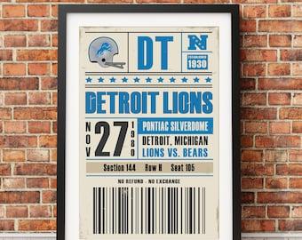 Detroit Lions Retro Ticket Print