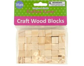 "35-piece Natural Wooden Craft Unfinished Hardwood .625"" Wood Blocks Square Cubes Set"