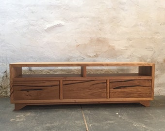 Low-line recycled timber entertainment unit