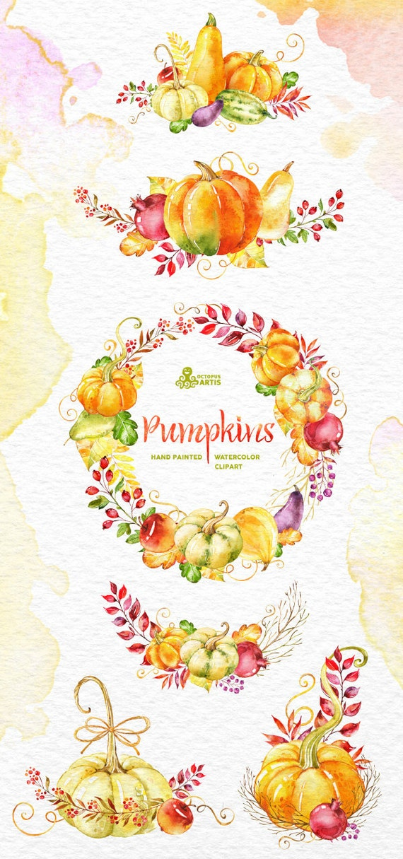 Pumpkins Clipart Watercolor Wreath Bouquets Fall