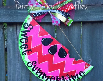 Watermelon Door Hanger / Summer Decor / Wooden Door Hanger / Wreath / front door decoration / summer door hanger / home decor / porch decor