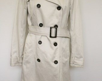 Womens Trench Coat  Beige White Double Breasted Belted Scandinavian Overcoat Size Medium
