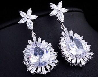 Cubic Zirconia Wedding Earrings, EMPRESS JEWELS Bridal Earrings, Wedding Jewelry, Simulated Diamond Earrings, Luxury, Couture Earrings, Glam