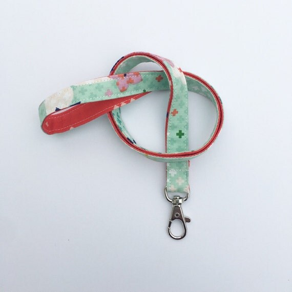 mint lanyard, lanyard, badge lanyard, key lanyard, fabric lanyard, lanyard for keys, lanyard necklace, college student gift, gift for her