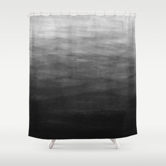 Dark Grey Ombre Watercolor Shower Curtain By KaliLaineDesigns