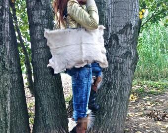 FREE SHIPPING!!! leather shoulder bag,fur,two-sided,boho,hippie, chic,gypsy,vintage,ethnic,étnico,bolso de piel,reversible