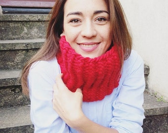 SALE! Red snood, red cowl, red scarf, scarf
