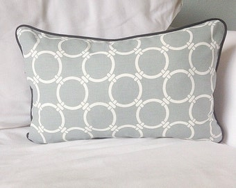 Grey and white cushion cover with black  piping edge and back, cushion cover, decorative pillow
