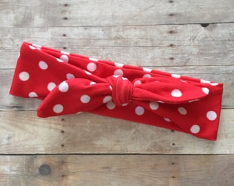 Red & White baby Knot Headband, Red Polka Dot Baby Girl Headwrap, Baby Turban, Top Knot Headband, Baby head wrap, Baby shower gift