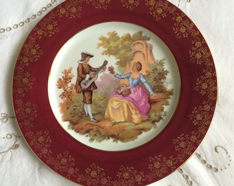 "Lazeyras Limoges La Reine, Fragonard Plate, Depicting Courting Couple. 10"" Diameter"