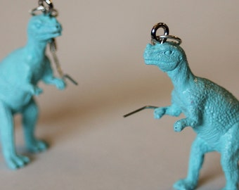 FREE SHIPPING Your Choice Color Cerataurus Upcycled Repuropsed Hypoallergenic Plastic Dinosaur Toy Earrings