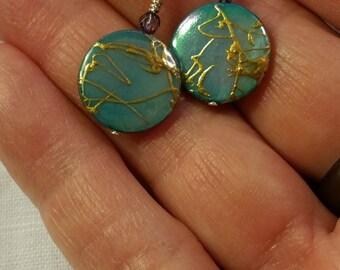 SALE***Aqua Illusion Coin Pearl Dangle Earring