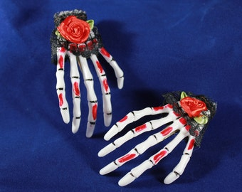 2 Skeleton Hands Hair Clips Gothic Black Lace Red Rose