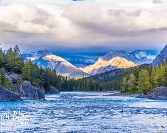 Rocky Mountains, Banff National Park, Cloud photography, River Photograph, Home Wall Decor, Fine Art Print