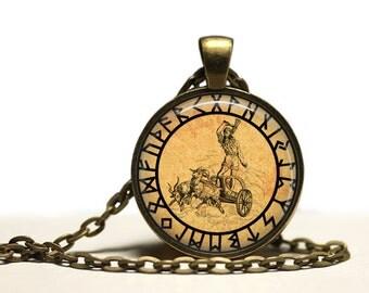 Thor rune pendant God necklace Antique occult jewelry