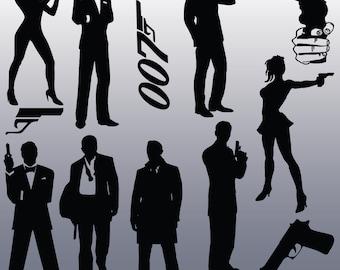 12 James Bond Silhouette Images, Digital Clipart Images, Clipart Design Elements, Instant Download, Black Silhouette Clip art