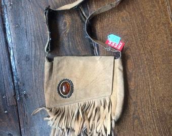 SALE WAS 20 Vintage Shoulder Bag 1970s Crossbody Bag Brown Tan Suede
